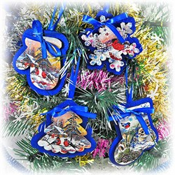 Эко-набор новогодних игрушек (синий) - фото 13847