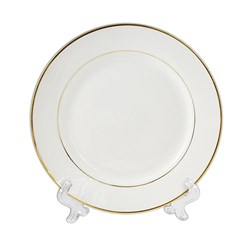 Тарелка белая с золотым ободком под нанесение фото - фото 14597