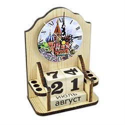 """Вечный календарь """"Московское время"""" с часами и карандашницей - фото 15240"""
