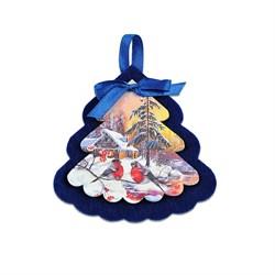 Елочная игрушка из фетра и фанеры (синяя, цветная) - фото 15936