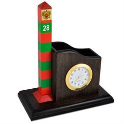 Карандашница большая, с часами + сувенирный пограничный столб - фото 16779