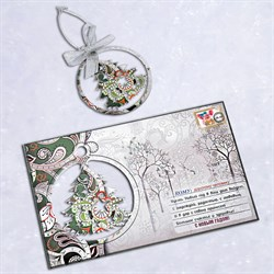 """Подарочная открытка """"Ёлочка"""" + елочная игрушка из дерева - фото 40320"""