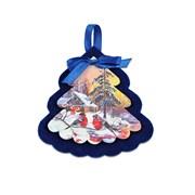 Елочная игрушка из фетра и фанеры (синяя, цветная)