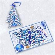 """Подарочная открытка """"Новогодняя ёлка"""" + елочная игрушка из дерева"""