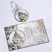 """Подарочная открытка """"Ёлочка"""" + елочная игрушка из дерева"""